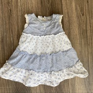 Baby gap 0-3 months blue and white cotton dress